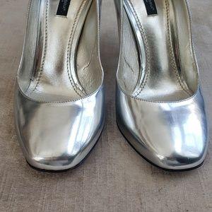 Dolce Gabbana silver metallic shoes